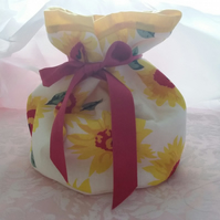 Make-up, Tolietries Bag Handmade Sunflower Design