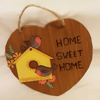 Home Is Where The Heart Is - Home Sweet Home Robin Design Plaque
