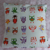 Cushion 'Handmade' Crazy Owl design