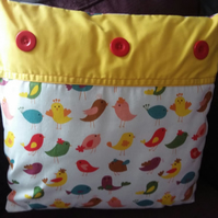 Nursery Cushion Hand Made Bright Happy Chick
