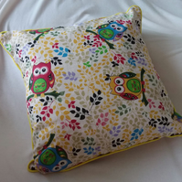 Cushion 'Handmade' Colourful Country Owl