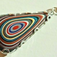 Unisex Fordite Detroit Agate Necklace with Your Choice of Silver or Suede Chain