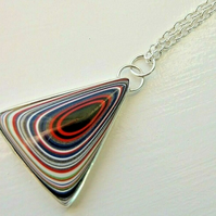Fine Silver Unisex Fordite Detroit Agate Necklace with Your Choice of Chain