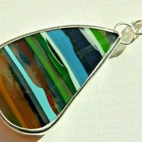 Fine Silver Unisex Surfite Surfboard Resin Necklace with Your Choice of Chain