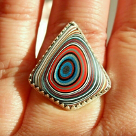 Fine Silver & Sterling Silver Statement Adjustable Ring with Multi Fordite