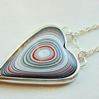 Fine Silver Fordite Detroit Agate Silver Glitter & Red Striped Heart on Necklace