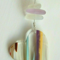 Surfite Surfboard Resin Heart Pendant with Neodymium Seaglass on Silver Necklace