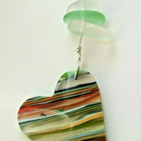 Surfite Surfboard Resin Heart Pendant with Green Seaglass on Silver Necklace