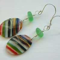 Surfite Surfboard Resin & Lime Seaglass Earrings on Sterling Silver Earwires