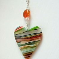Surfite Surfboard Resin Heart Pendant with Carnelian Gemstone on Silver Necklace