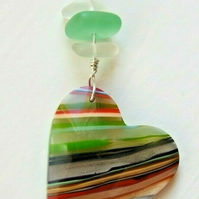 Surfite Surfboard Resin Heart Pendant with Cornish Seaglass on Silver Necklace