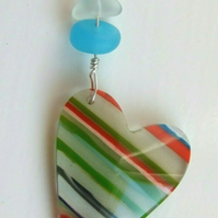 Surfite Surfboard Resin Heart Pendant with Blue Seaglass on Silver Necklace