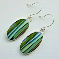 Surfite Surfboard Resin Dangly Earrings with 925 Silver Earwires