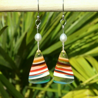 Surfite & Sterling Silver Wire-Wrapped Multicoloured Earrings with White Pearls