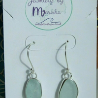 Handcrafted Fine Silver Cornish Seaglass Earrings in Light Aqua on 925 Earwires