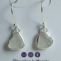 Sterling Silver & Fine Silver Rare Heart Shaped Seaglass Earrings in White