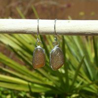 """""""Ecosilver"""" Recycled Silver & Fine Silver Amber Brown Cornish Seaglass Earrings"""