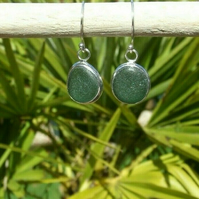 Handcrafted Fine & Sterling Silver Cornish Seaglass Earrings in Olive Green