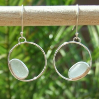 Fine Silver & Recycled Silver Cornish Seaglass Earrings in Light Aquamarine