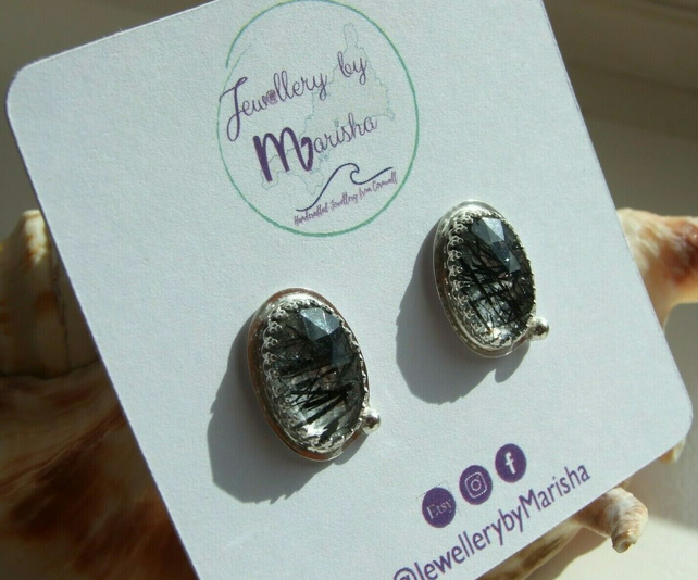 Rose Cut Black Tourmalinated Quartz Ovals in Sterling Silver .925 Stud Earrings
