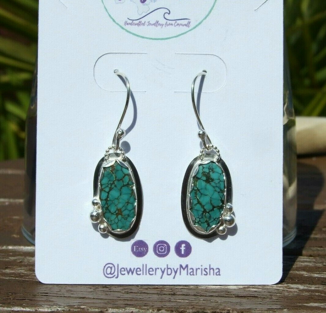 Tibetan Turquoise & Sterling Silver Dangly Earrings with Recycled Silver Bubbles