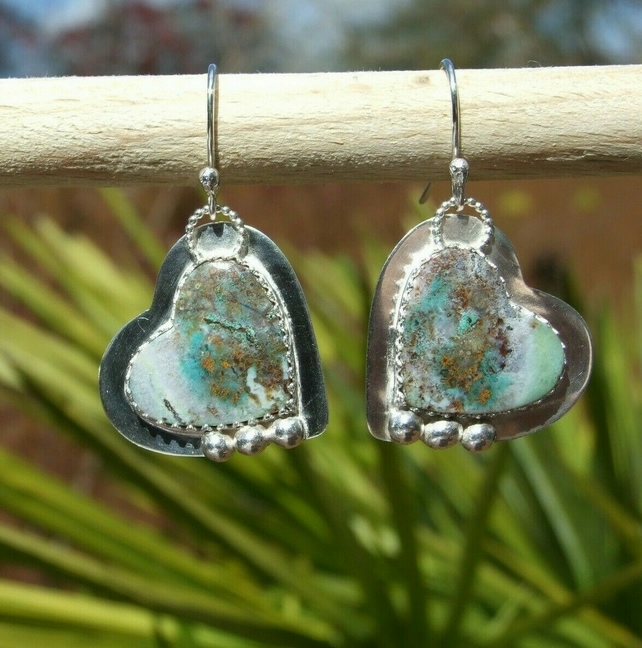 Blue Opalized Petrified Wood Hearts on Sterling Silver 925 Dangly Earrings
