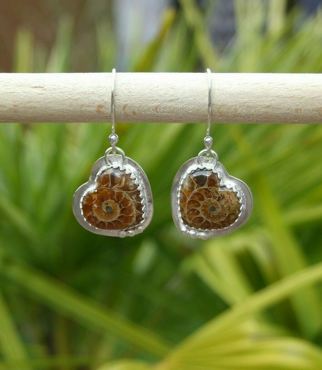 Handmade Sterling Silver 925 Dangly Earrings with Heart Shaped Ammonite Fossils