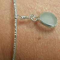 Fine Silver & Recycled Sterling Silver Sparkle Bangle & Aqua Seaglass Charm Med