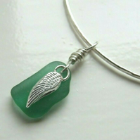 Recycled Silver Handmade Bangle with Silver Angel Wing & Green Seaglass Charms