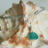 Recycled Silver Handmade Wire Heart Bangle with Teal Seaglass Charm One Size