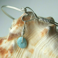 Recycled Silver Handmade Wire Heart Bangle with Rare Blue Larimar Charm One Size