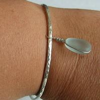 Recycled Silver Handmade Sparkle Bangle & Pale Blue Cornish Seaglass Charm M-L