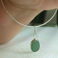 Fine Silver & Recycled Sterling Silver Sparkle Bangle & Green Seaglass Charm Med