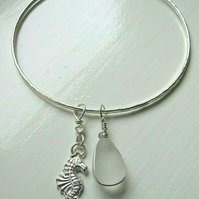 Recycled Silver Handmade Bangle with Silver Seahorse & White Seaglass Charms