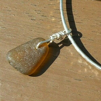 Recycled Sterling Silver Handmade Sparkle Bangle & Brown Seaglass Charm -Medium