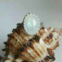 Blue Flash Moonstone Healing Gemstone Silver Plated Adjustable Ring