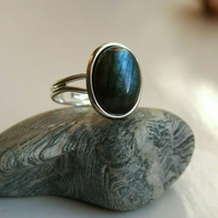 Genuine Blue Flash Labradorite Healing Gemstone Adjustable Ring Size M to P