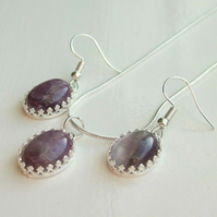 Genuine Amethyst Healing Gemstone Silver Plated Necklace & Earrings Gift Set