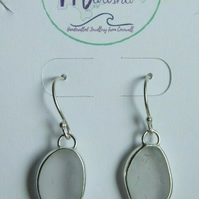 Handcrafted Cornish Seaglass Dangly Earrings in Clear White & Fine Silver