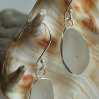 Handcrafted Cornish Seaglass Dangly Earrings in Pure White & Fine Silver