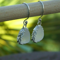 Earrings in White Cornish Seaglass Wrapped in Ornate Sterling Silver 925 Leaves
