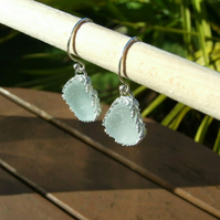 Pale Aqua Cornish Seaglass Earrings Wrapped in Ornate Sterling Silver 925 Leaves