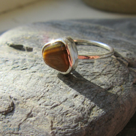 Sterling Silver Ring with Tigers Eye Gemstone size L