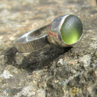 Sterling Silver and Olive Green Cornish Sea Glass Handmade Ring