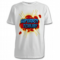 Personalised T-Shirts SuperBoy and SuperGirl, with your Child's Name Free PP