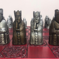 Isle of  Lewis Chessmen With Rare Berserker Pawns (Chess Pieces Only)