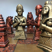 Egyptian Chess Set - Antique Copper and Gold Metallic Effect (Chess Pieces Only)