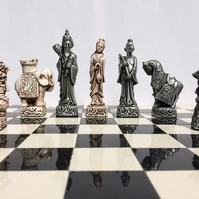 Oriental chess set - Antique White & Aged Silver Effect (Chess Pieces only)