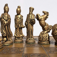 Beautiful Oriental Chess Set - White & Gold Aged Effect (Chess Pieces Only)