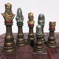 Richard the Lion Heart Chess Set - Antique Metallic Effect (Chess Pieces Only)